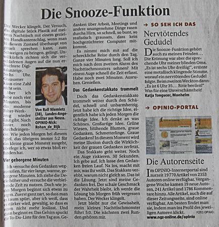 Die Snooze-Funktion in der Rheinischen Post
